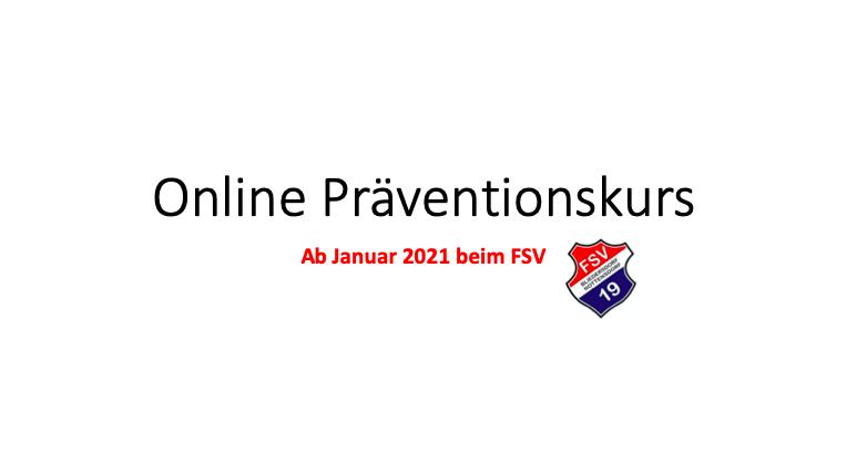 Online Präventionskurs ab Januar 2021